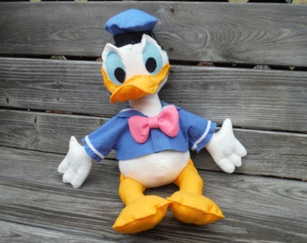 DONALD DUCK Stuffed Toy, DIY, VIntage Style, Felt fabric, Blue, Walt Disney Toys Kids Nursery Decor Disney Icon,