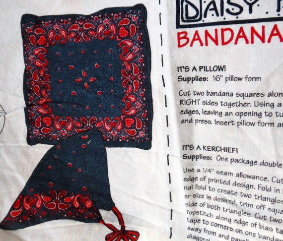 Red Bandana by Daisy Kingdom  Fabric Pillow Cushion Panel Cotton