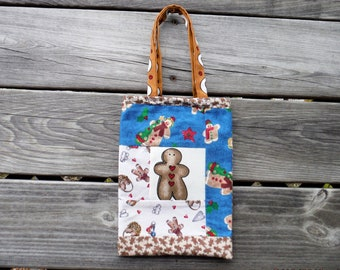 GINGERBREAD MAN TOTE Bag, #2, Showers Bride Baby, School, Carry-All, Book Bag, Market, Messenger, Gym Tote, DlY