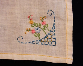 Free Shipping, VINTAGE HANKY, White Handkerchief, Embroidered Blue, Pink & Yellow Floral Basket, 12 inches square, Cotton Hanky, Collectible