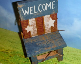AMERICANA WOODEN CHAIR, Doll Chair, Miniatures, Red, White, Blue, Welcome, Stars and Stripes, Doll House Furniture, 4th of July, Patriotic