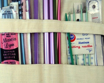 KNITTING NEEDLE WRAP, Vintage Pouch, Organiizer, Case, Holder, 1950+ Craft Supply Holder, Rulers, Crochet Hooks, Notions, Caddy,Project Roll