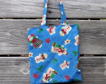Blue GINGERBREAD MAN TOTE Bag, #4 Blue Lining, Showers Bride Baby, School, Carry-All, Book Bag, Market, Messenger, Gym Tote, DlY