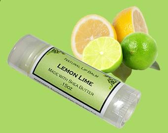 LEMON LIME Lip Balm made with Shea Butter - .15oz Oval Tube