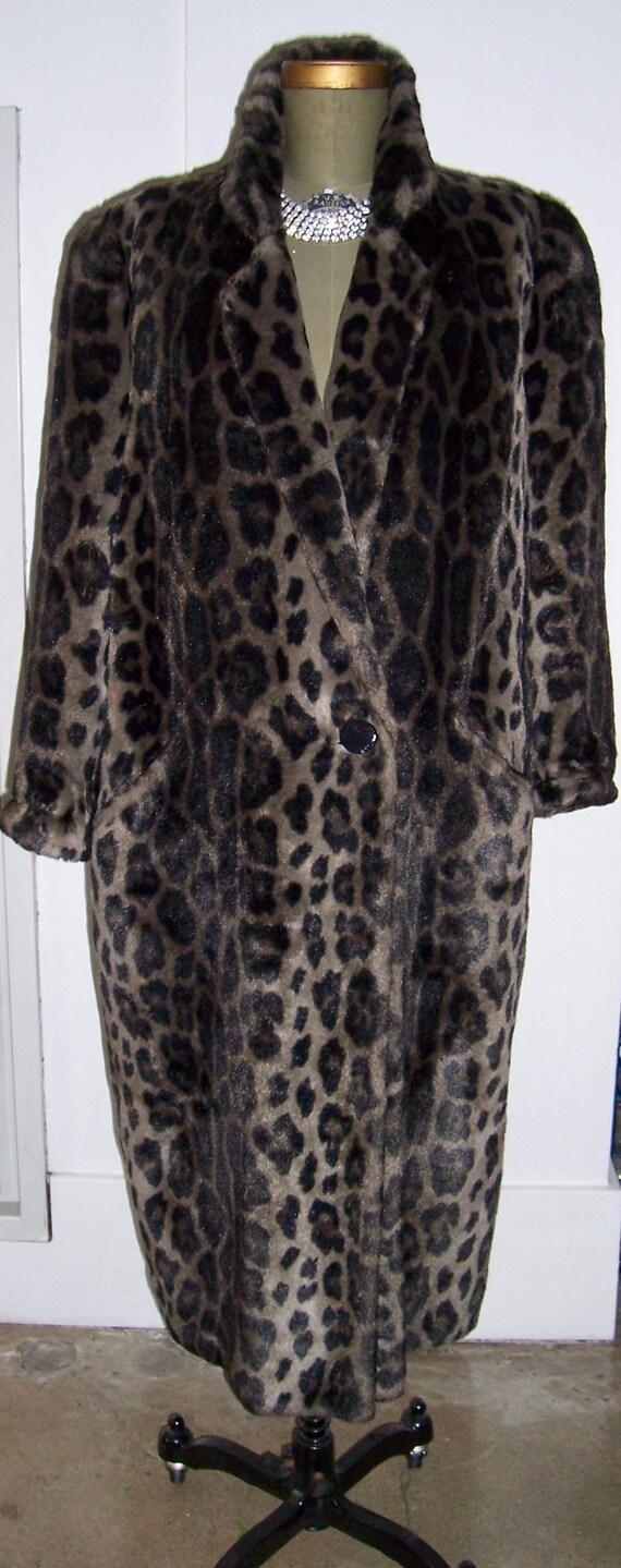 Fantastic Vintage Norma Kamali Faux Leopard Coat M