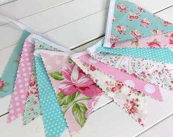 Shabby Chic Bunting Banner Baby Girl Nursery Decor Fabric Banner Nursery Bunting Baby Shower Fabric Bunting Pink Aqua Blue Roses Flowers