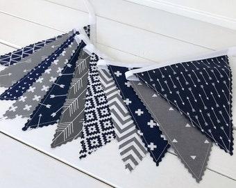 Personalised Navy Blue /& Star Fabric Bunting ~ Baby Boy ~ Nursery Decor