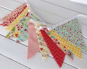 Fabric Banner Fabric Bunting Baby Girl Nursery Decor Birds Baby Bunting Photography Props Floral Flowers Birds Pink Red The Sweetest Thing