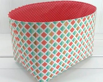 Etonnant Storage Basket Fabric Bin, Baby Girl Nursery Decor, Diaper Caddy   Gold,  Blush Pink With Mint And Coral Pink