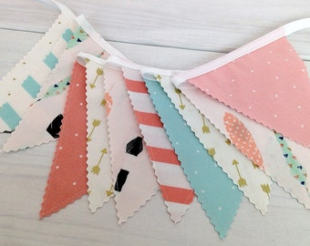 Boho Nursery Bunting Fabric Banner Fabric Bunting Baby Girl Nursery Decor Nursery Bunting Photo Props Feather Arrow Feathers Gold Blush Pink