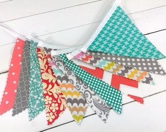 Baby Girl Nursery Decor Fabric Bunting Fabric Banner Nursery Banner Nursery Bunting Turquoise Gray Coral