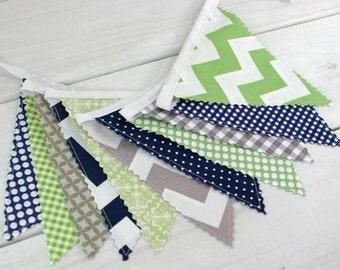 Baby Shower Bunting Fabric Banner Garland Baby Boy Nursery Decor Fabric Bunting Nursery Bunting Green Grey Navy Blue Gray Chevron