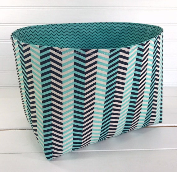 Miraculous Storage Basket Fabric Bin Baby Boy Nursery Decor Baby Shower Gift Organizer Storage Bin Aqua Blue And Gray Chevron Zigzag Machost Co Dining Chair Design Ideas Machostcouk