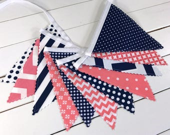 Bunting Fabric Banner Nursery Bunting Nursery Banner Baby Girl Nursery Decor Fabric Bunting Party Decorations Garland Coral Pink Navy Blue