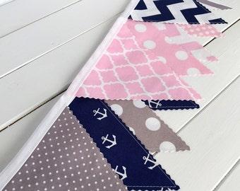 Bunting Fabric Banner Nautical Anchor Baby Girl Nursery Decor Baby Shower Fabric Bunting Pink Gray Grey Navy Blue