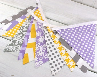 Baby Girl Nursery Decor Fabric Bunting Fabric Banner Garland Baby Shower Lavender Purple Gray Yellow Grey Flowers Floral