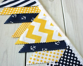 Nautical Fabric Bunting Fabric Banner Anchor Baby Boy Nursery Decor Baby Shower Party Decorations Yellow Navy Blue