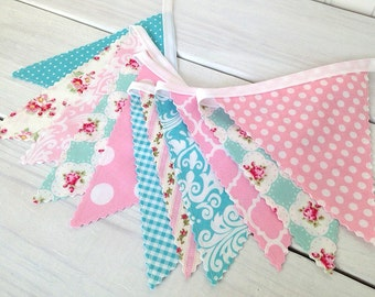 Bunting Banner Garland, Nursery Bunting, Fabric Bunting, Baby Girl Nursery Decor - Floral Pink and Blue Flowers and Roses