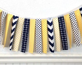 Nautical Garland Banner Bunting Anchor Baby Shower Nursery Decor Fabric Bunting Fabric Banner Photography Props Yellow Navy Blue Chevron