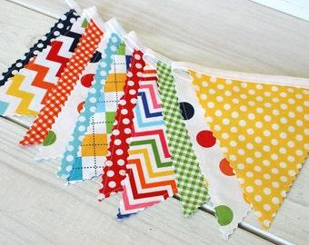 Party Decorations Baby Shower Birthday Decorations Fabric Bunting Fabric Banner Nursery Garland Banner Nursery Decor Rainbow Chevron Plaid