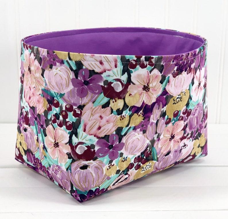 Watercolor Floral Storage Basket Fabric Organizer Storage image 0