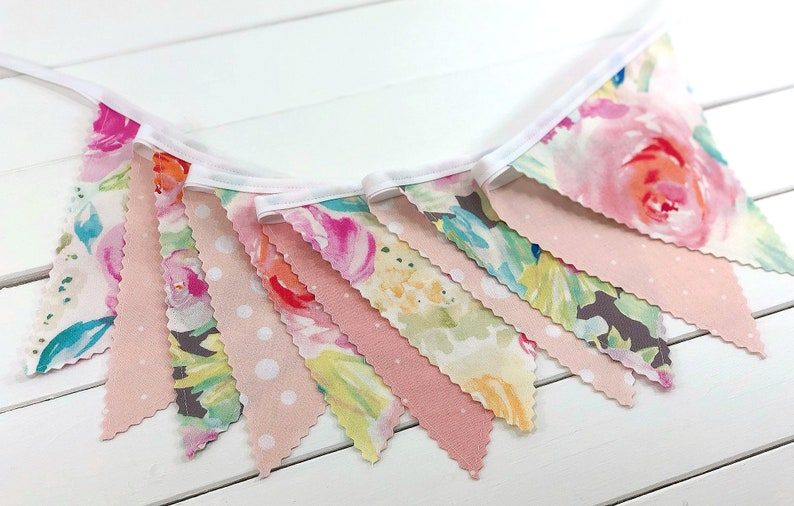 Watercolor Floral Bunting Banner Fabric Flags Floral Nursery image 0