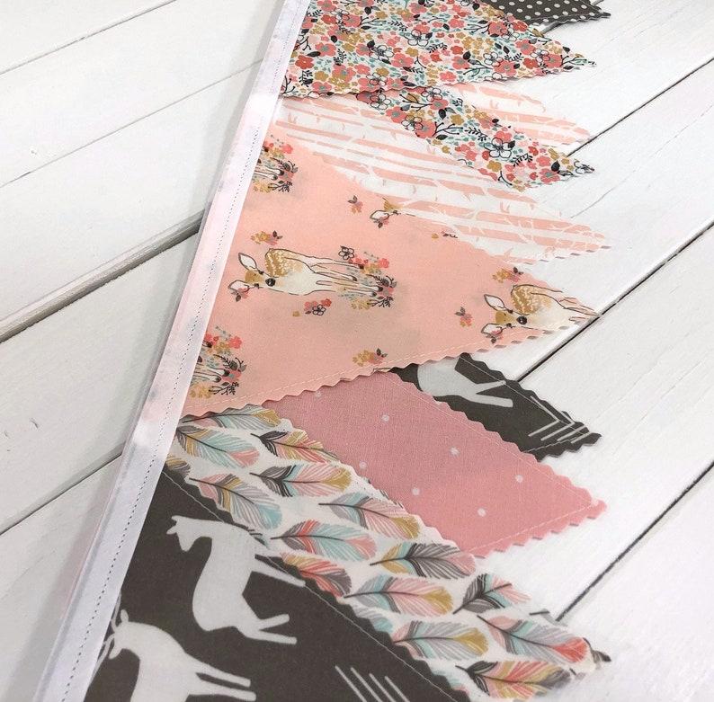 Woodland Nursery Decor Fabric Bunting Banner Flags Boho Baby image 0
