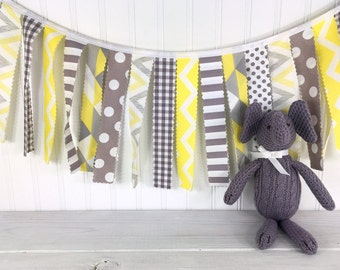 Garland Banner Bunting Baby Shower Baby Nursery Decor Nursery Bunting Fabric Bunting Photography Props Yellow Grey Gray Chevron