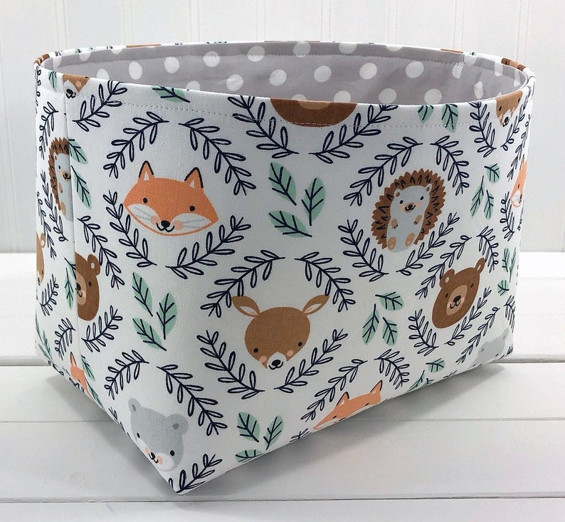 Woodland Nursery Storage Basket Fox Nursery Decor Fabric image 0