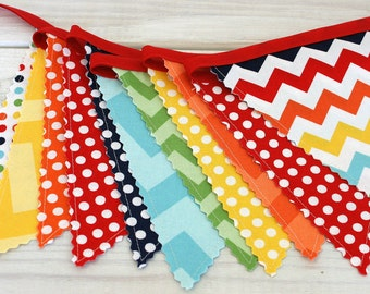 Banner Garland Bunting Birthday Banner Party Decorations Baby Shower Fabric Bunting Baby Nursery Decor Rainbow Chevron Colorful