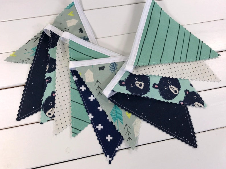 Fabric Bunting Banner Flags Woodland Nursery Decor Boy Baby image 0