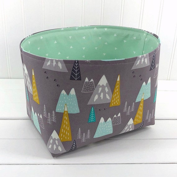 Pleasant Woodland Storage Basket Adventure Nursery Decor Organizer Storage Bin Mint And Gray Woodland Mountains Gmtry Best Dining Table And Chair Ideas Images Gmtryco