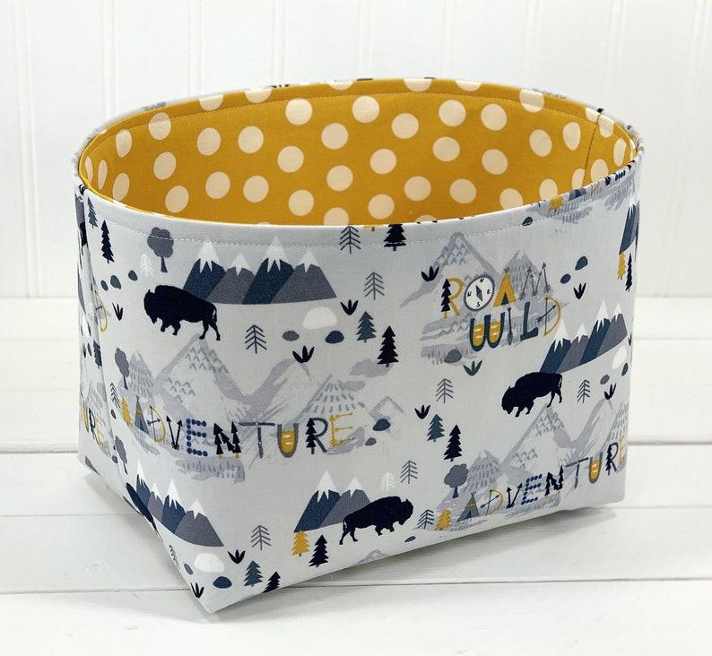 Woodland Storage Basket Adventure Nursery Decor Organizer image 0