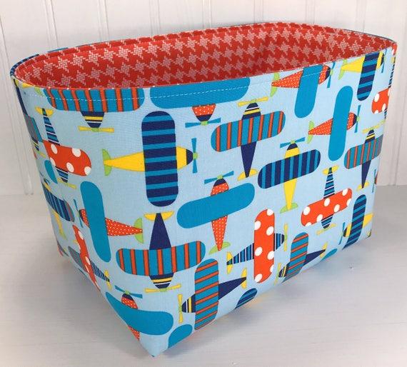 Airplane Storage Basket Baby Boy Nursery Decor Fabric Basket | Etsy