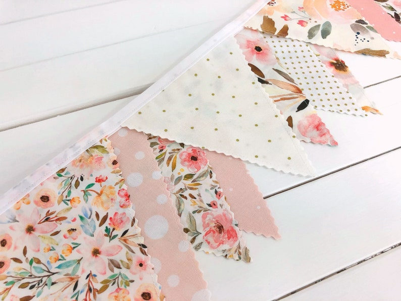 Watercolor Floral Bunting Banner Baby Girl Nursery Decor image 0
