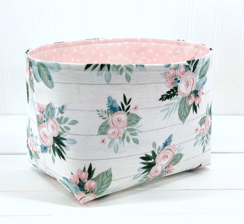 Watercolor Fabric Storage Bin Floral Organizer Storage image 0