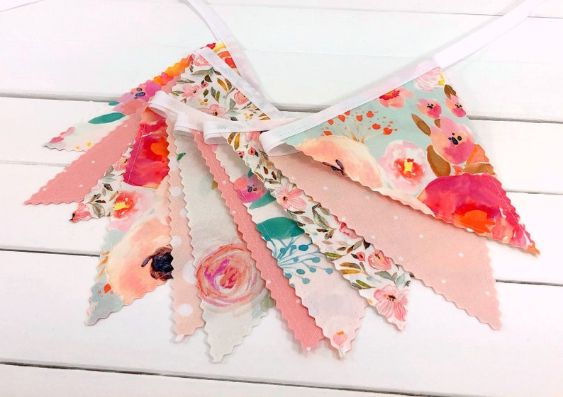 Watercolor Floral Fabric Bunting Banner Boho Nursery Decor image 0