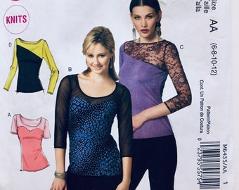 McCalls M6435 Pattern Easy Knit Lace Sleeve Tee Shirts Sizes 6 8 10 12 UNCUT