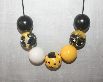 Handpainted Wooden Bead Necklace - Black, Yellow and White Tones