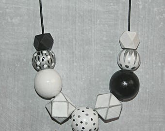Handpainted wooden bead necklace - in Black, Silver and White tones