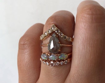 Rustic Diamond Ring, Grey Diamond Ring, Rose Cut Diamond Ring, Unique Engagement Ring, One of a Kind Engagement Ring, Pear Diamond Ring
