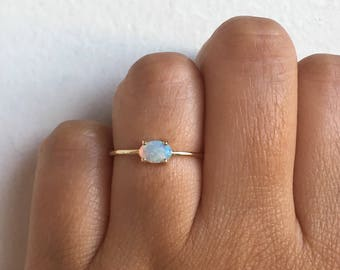 The Sweetest Ring, Opal Ring, Tiny Opal Ring, Opal Promise Ring, Dainty Opal, Stacking Ring, Birthstone Ring, Opal Engagement Ring, Opal