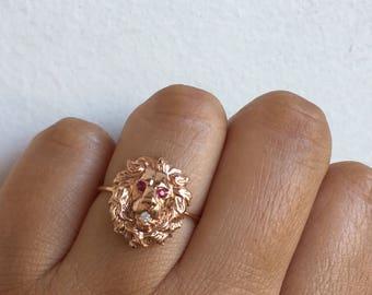 Lion Ring, Gold Lion Ring, Leo, Vintage Lion Ring, Antique Lion Ring, Lion Jewelry, Leo Ring, Leo Jewelry, Lion, Lion Head, Astrology Ring