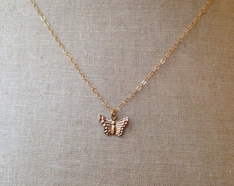 Gold Butterfly Necklace, Butterfly Charm, Dainty Butterfly, Butterfly Jewelry, Bridesmaid Necklace, Bridesmaid Gifts, Insect Jewelry