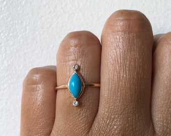 Turquoise Ring, Turquoise Diamond Ring, Marquis Ring, Gold Turquoise Ring, Turquoise Engagement Ring, Birthstone Ring,  Birthstone Jewelry