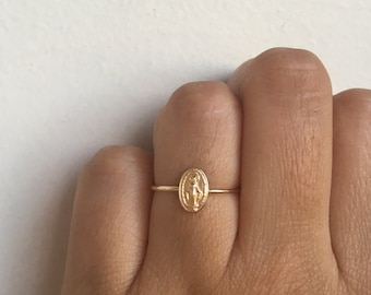 Tiny Gold Miraculous Medal, Virgin Mary Ring, Miraculous Medal Charm, Miraculous Medal, Blessed Mother, Religious Medal, Mother Mary, Mary