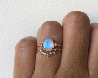 Moonstone Ring, Moonstone Engagement Ring, 14k Moonstone Ring, Moonstone Diamond Ring, Unique Engagement Ring, Past Present Future Ring