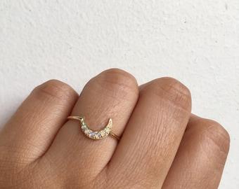 Opal Moon Ring, Moon Ring, Crescent Moon Ring, Opal Moon, Opal Ring, Crescent Moon, Opal Band, Unique Engagement Ring, Wedding Band, Opal