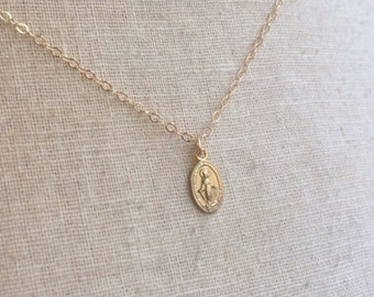 Tiny Gold Miraculous Medal, Virgin Mary Necklace, Miraculous Medal Charm, Miraculous Medal Necklace, Blessed Mother, Religious Medal, Mary