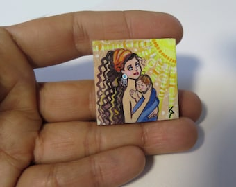 original dollhouse miniature, mother and son, Unfraimed mini painting, Original Miniature Painting, Mother Painting, Stylized miniature